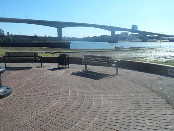 Paved seating area near the Itchen Ferry